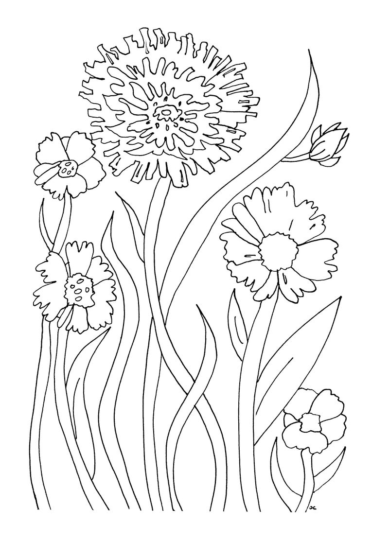 Download Printable Flowers To Color 001