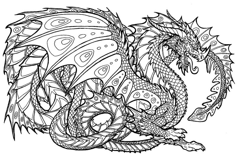 Dragon Coloring Pages For Adults 1