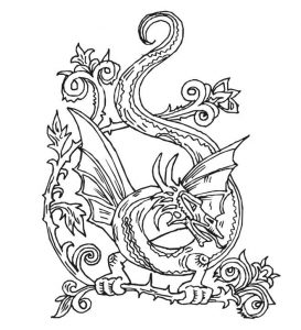 Dragon coloring pages for adults 2