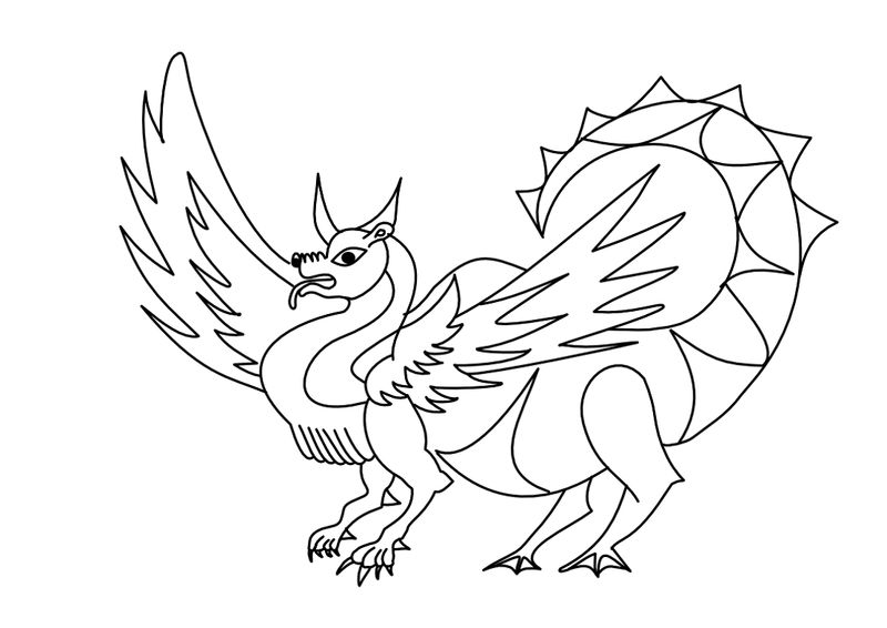Dragon Coloring Pages Simple 001