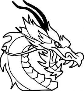 Dragon face side view coloring page