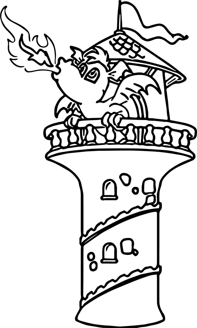 Dragon Fire Castle Coloring Page