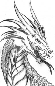 Dragon head coloring page 001