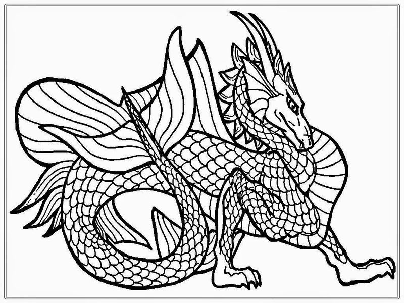Dragon Line Art For Adult Coloring