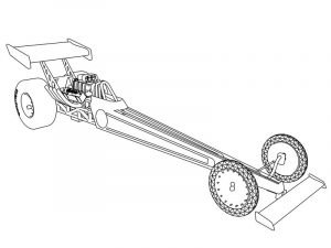 Dragster race car coloring page