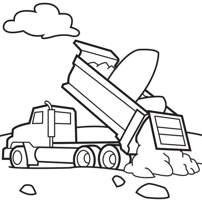 Dump Truck Coloring Pages Free Printable 001