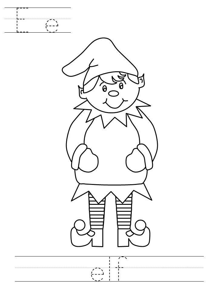 E Is For Elf Coloring Page For Preschoolers