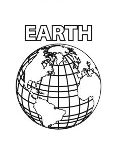 Earth coloring page for kids