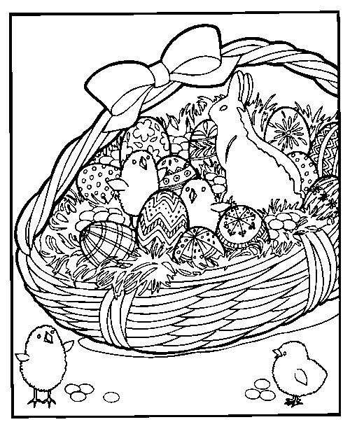 Easter Basket Coloring Pages For Adults 1