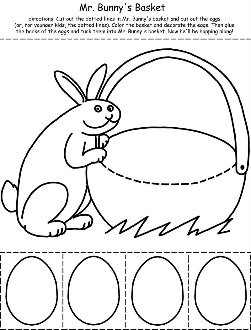 Easter Basket Cut And Color Activity Sheet