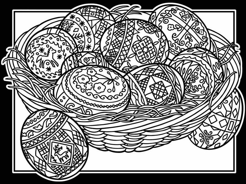 Easter Basket With Eggs Coloring Pages For Adults