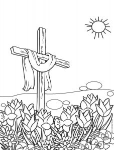 Easter cross in the garden coloring page