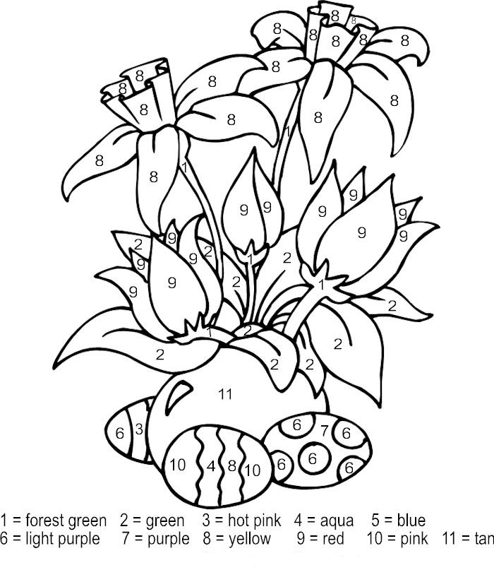 Easter Flowers Color By Numbers