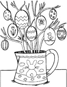 Easter tree coloring page