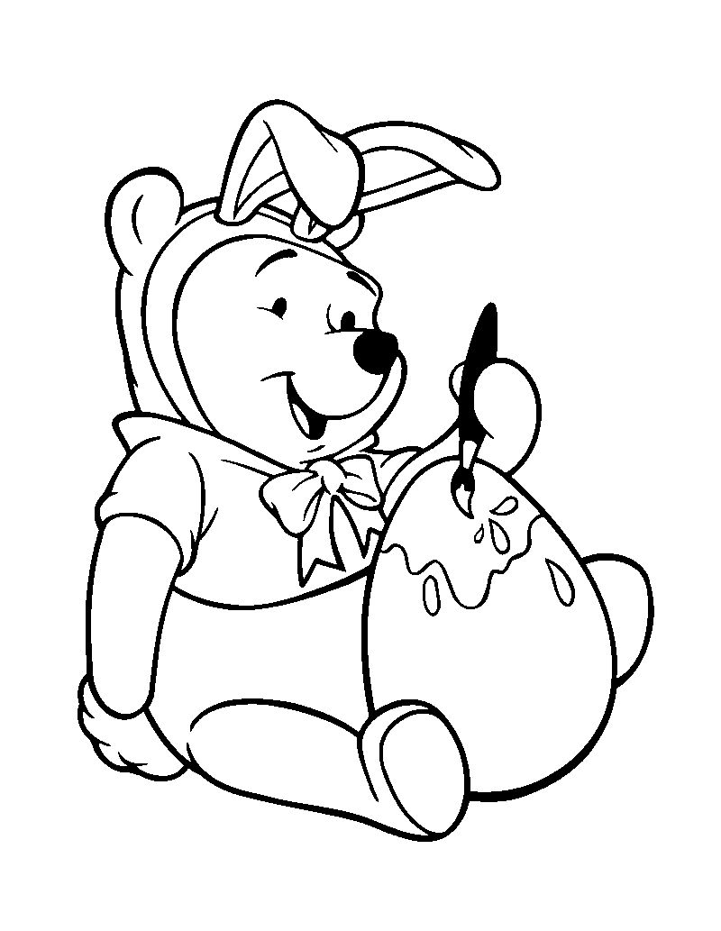 Easter Winnie The Pooh Coloring Pages