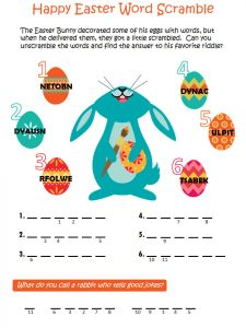 Easter word scramble puzzle 1