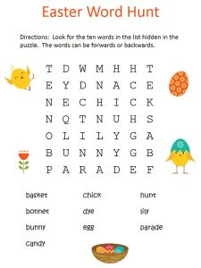 Easter wordsearch for kids cute