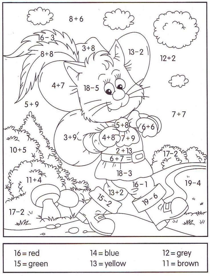 Easy Addition Coloring Worksheets Printable