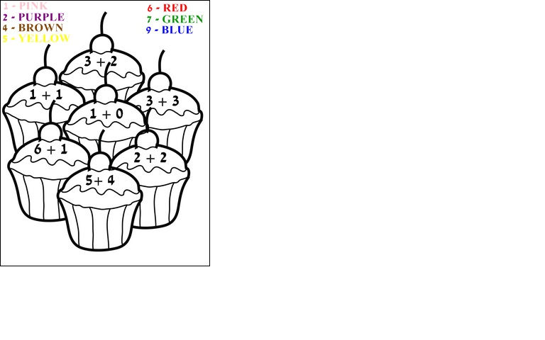 Easy Addition Coloring Worksheets