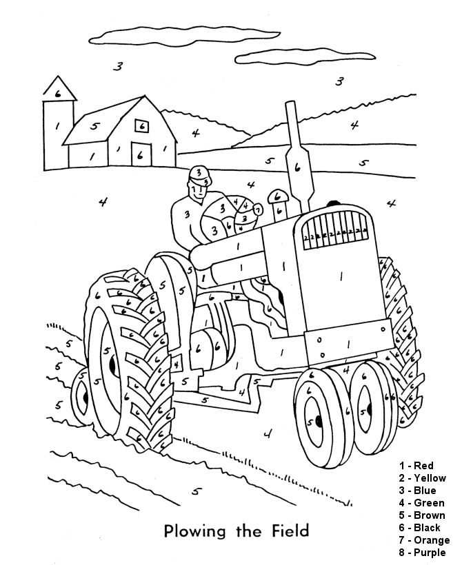 Easy Adult Color By Numbers Printable Farm