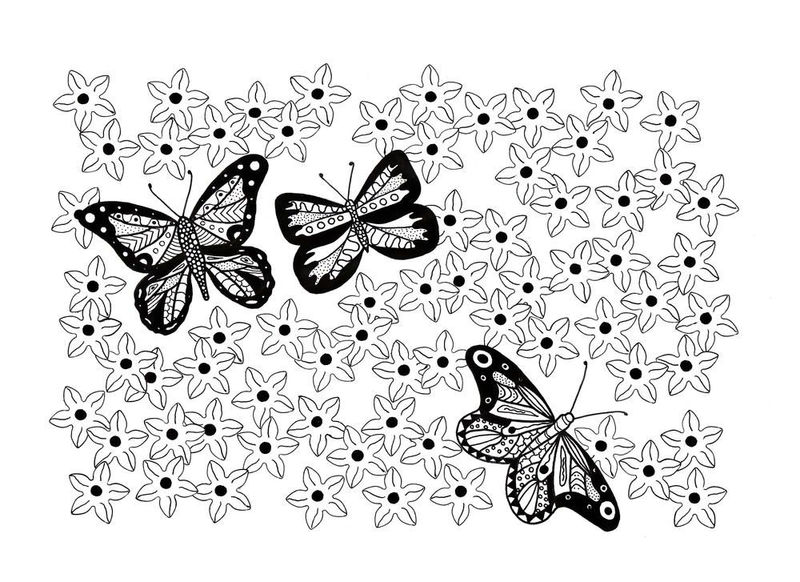 Easy Butterfly Garden Coloring Page