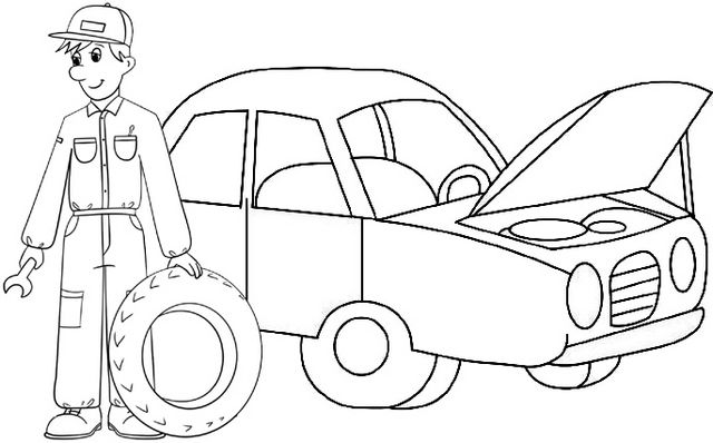 Easy Car Mechanic Coloring Page