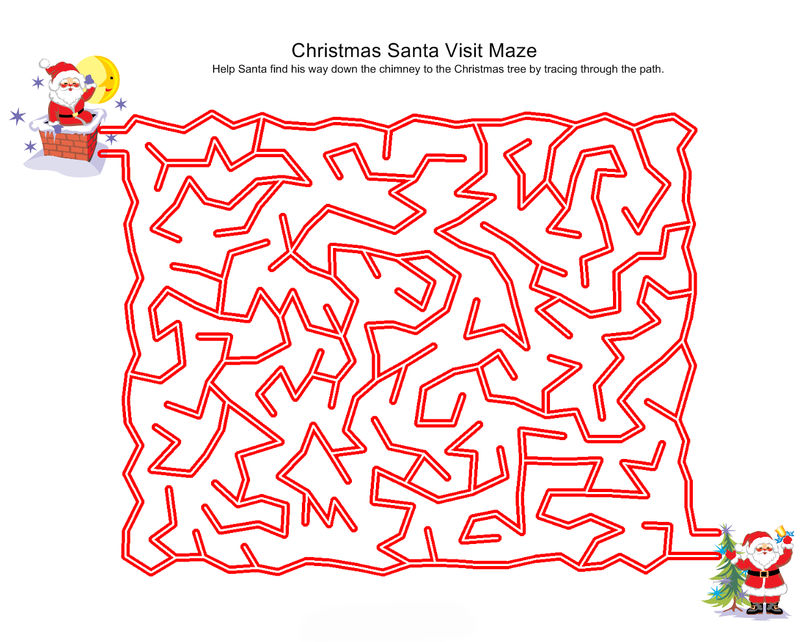 Easy Christmas Mazes