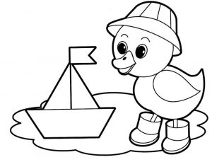 Easy coloring pages duck 001