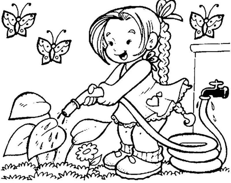 Easy Coloring Pages Gardening