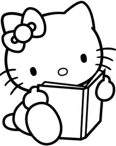 Easy coloring pages hello kitty 001