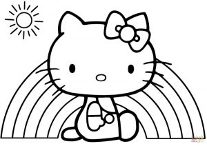 Easy coloring pages hello kitty rainbow
