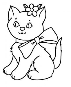 Easy coloring pages kitten 001