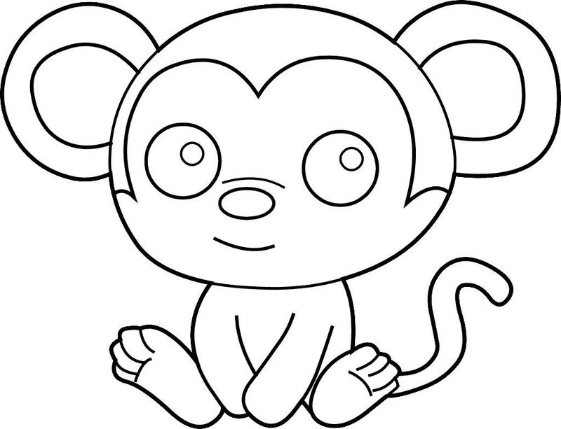Easy Coloring Pages Monkey 001