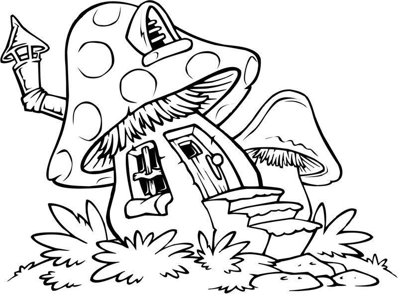 Easy Coloring Pages Mushroom 1