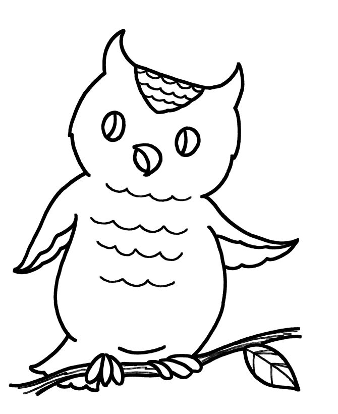 Easy Coloring Pages Owl 001