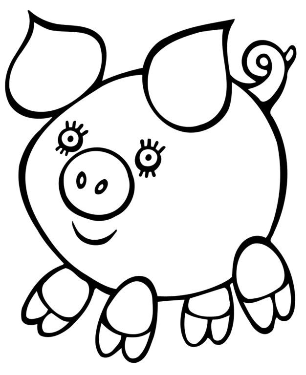 Easy Coloring Pages Pig 001