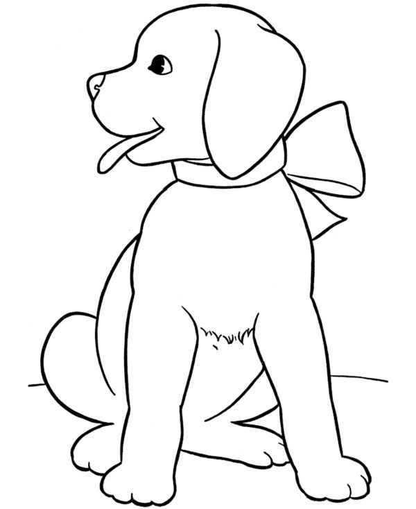 Easy Coloring Pages Puppy