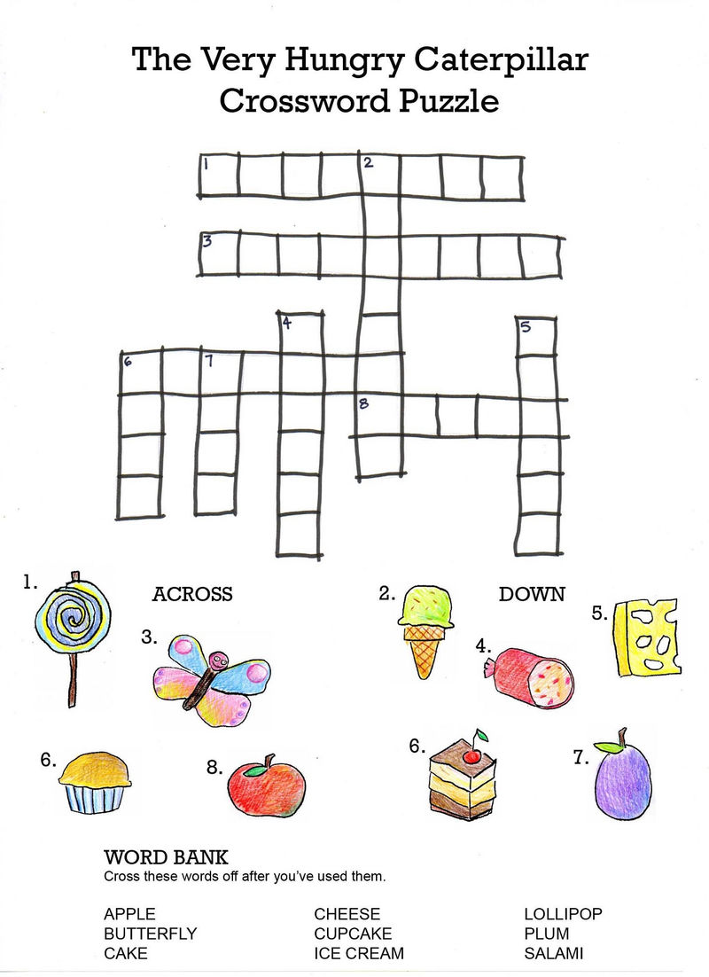 Easy Crossword Puzzles For Kids Caterpillar