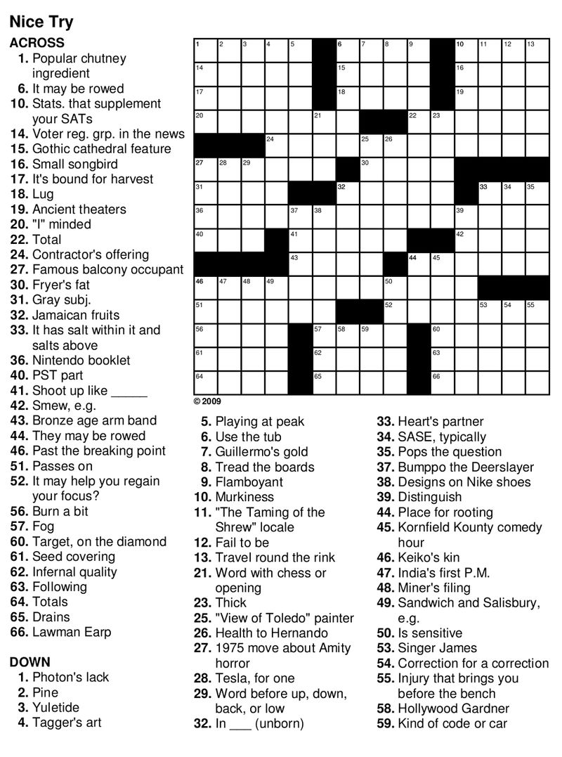 Easy Crossword Puzzles For Seniors Free