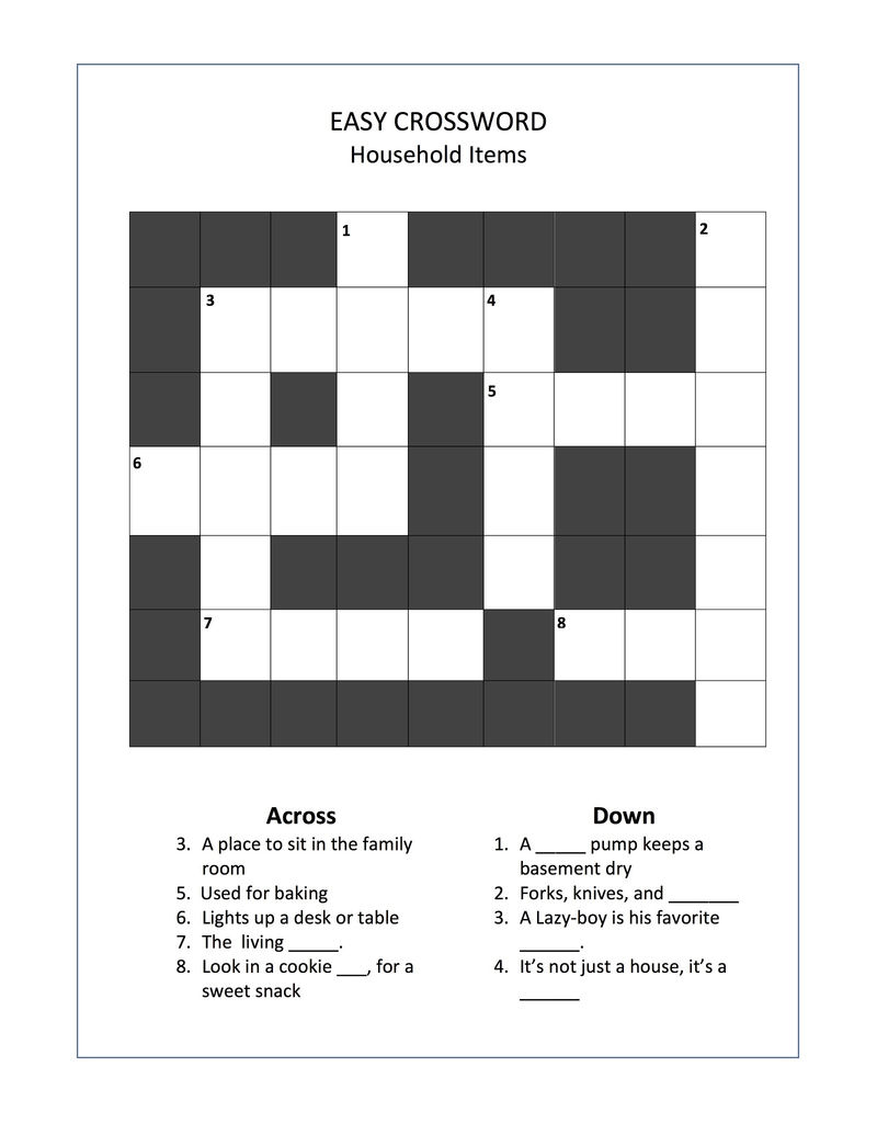 Easy Crossword Puzzles For Seniors Fun