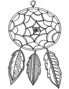 Easy dream catcher coloring pages