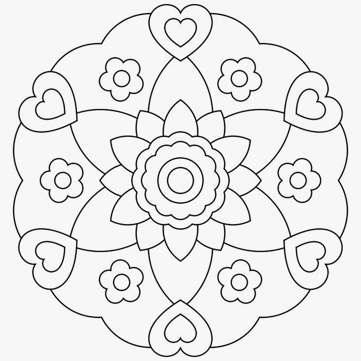 Easy Flower And Hearts Mandala Coloring Pages