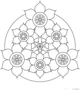Easy flower mandala coloring page for kids