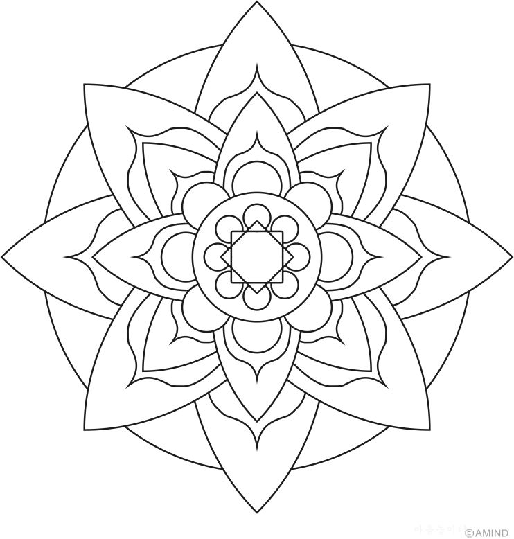Easy Flower Mandala Coloring Page