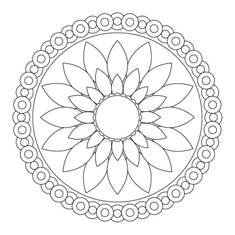 Easy Flower Mandala Coloring Pages For Kids