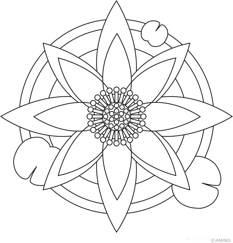 Easy Flower Mandala Coloring Pages