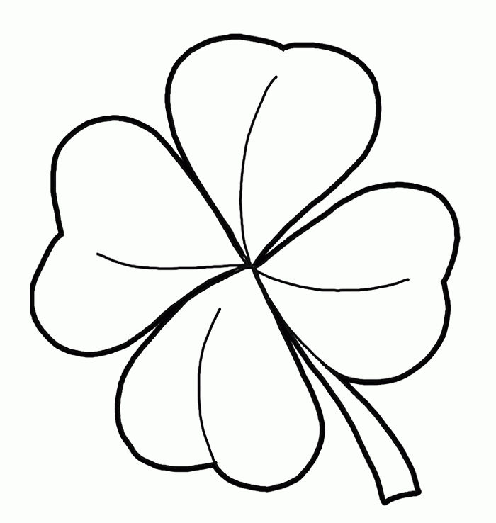 Easy Four Leaf Clover Coloring Pages 1