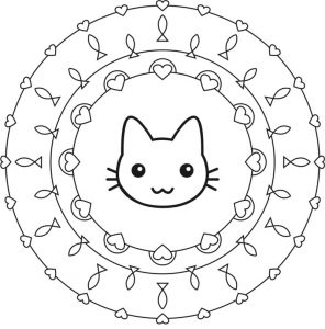 Easy kitty mandala coloring page for kids