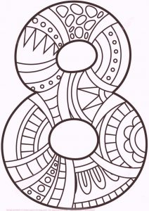 Easy number 8 eight coloring pages