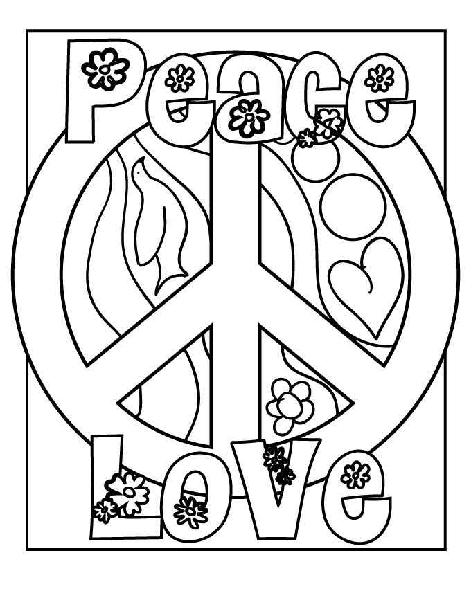 Easy Peace Coloring Page For Adults